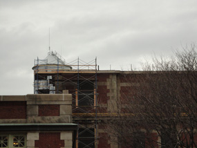 Scaffolding around the Baggage and Dormitory Building roof.