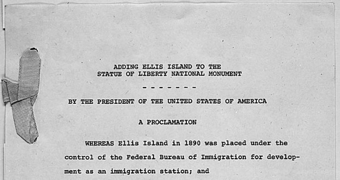 Top of page 1 of 3 of Proclamation 3656 from 1965; gray-looking paper with black typewriter text