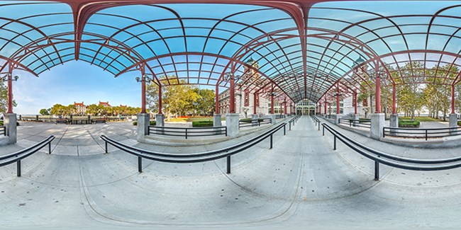 Ellis Island entrance spherical image unwrapped