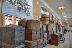 View of the Baggage Display located in the Baggage Room on the ground floor of the Ellis Island Immigration Museum.