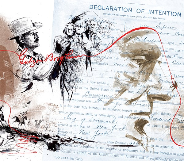 Left side a sketch of Gutzon Borglum drawing four faces on a mountain. Right side, the Declaration of Intention completed form with a profile of Abraham Lincoln with a stone carver on the tip of his nose superimposed.