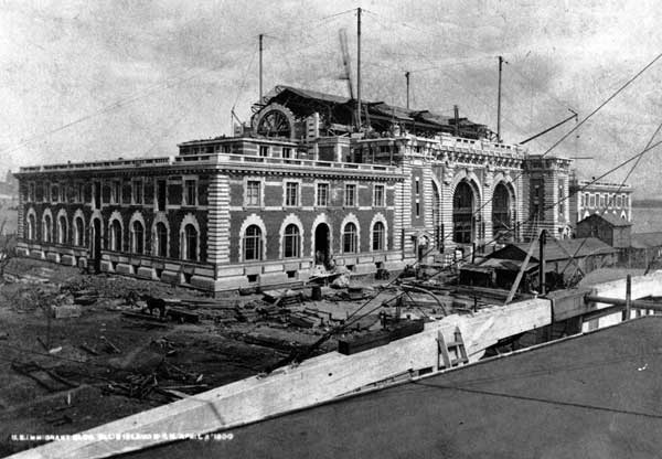 View of the construction of the Main Immigration Building on Ellis Island, ca. 1900.