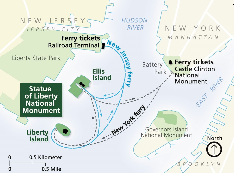 Maps Statue Of Liberty National Monument US National Park - Map of new york and new jersey