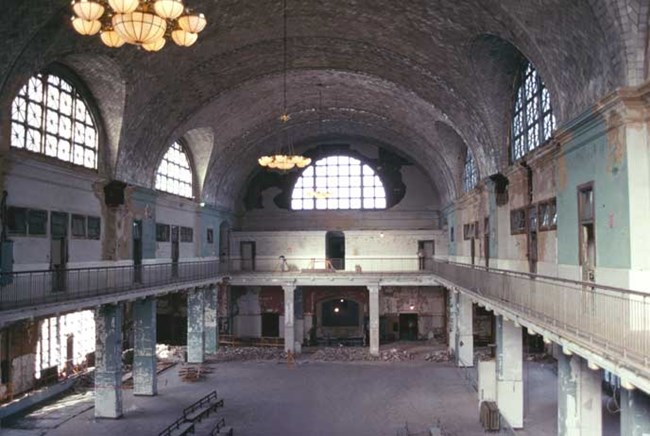 "View of the Registry Room or ""Great Hall"" prior to restoration."