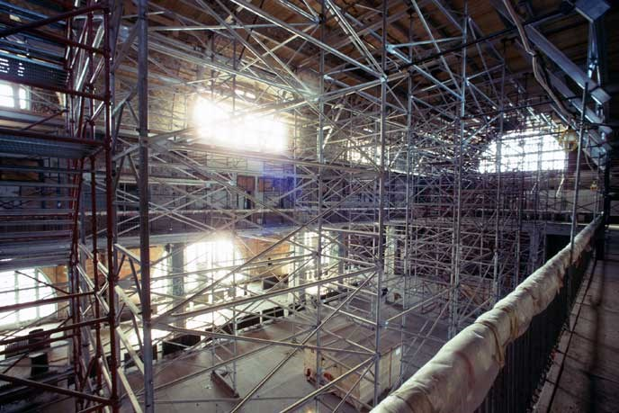 View of the Registry Room filled with scaffolding from floor to ceiling.