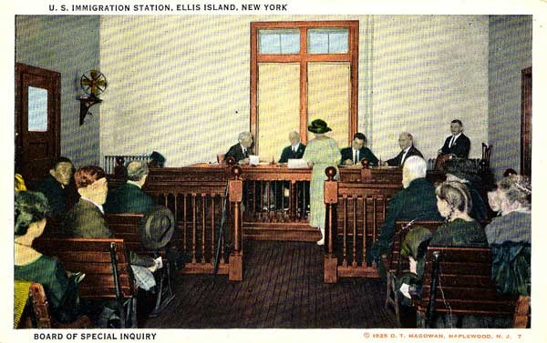 Original postcard view of the Board of Special Inquiry in session.