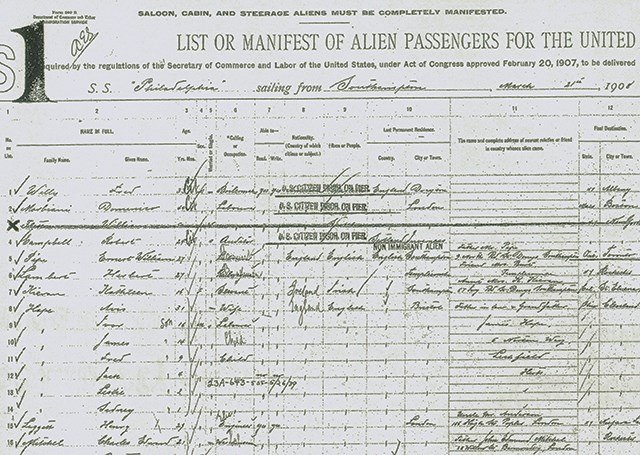 Steamship immigration manifest
