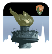 Graphic with NPS black banner and arrowhead along top; Statue of Liberty's Torch in front of blue sky and white skyline.