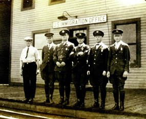 Immigration Officers at Port of Entry (circa 1924).