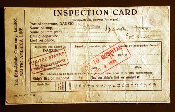 Photograph of an inspection card.