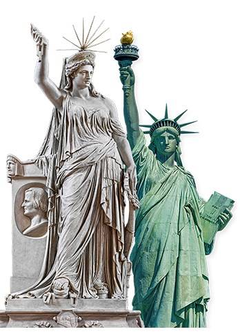 Two Statues. Liberty of Poetry by Pio Fedi on the left. Statue of Liberty by August Bartholdi on the right.