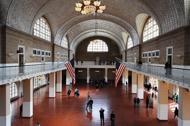 A view of the Great Hall on Ellis Island from the balcony