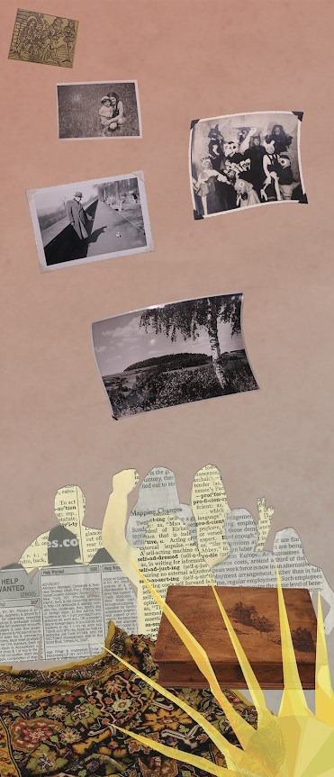 Rectangular image of four b/w photographs above a silhouette in newspaper above a multicolored fabric and six thin yellow fingered sun