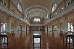 "View of the Registry Room or ""Great Hall"" where immigrants were processed once they arrived on Ellis Island."