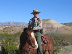 A park ranger and his trusty horse on patrol.