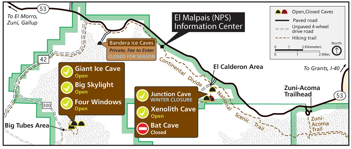 Map of caves with closures listed.