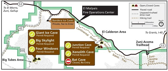 A map shows the locations of recreational lava tube caves within El Malpais.