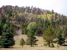 Volcanic spires rise from the north slope of Mount Taylor in the Cibola National Forest.