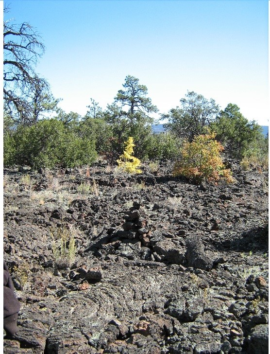 A field of lava marked by a hard-to-find cairn.