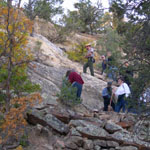 Visitors participate in a ranger-led hike.