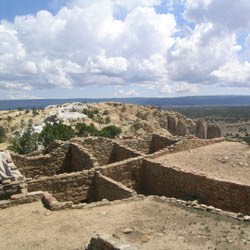 The Pueblo ruin site, Atsinna, sits up on top of the bluff.