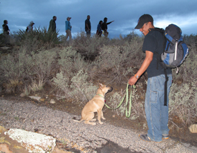 Puppy and his owner enjoy a ranger guided night hike.