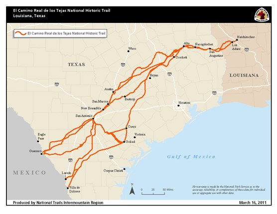 A map depicting a trail from Louisiana south through Texas into Mexico.