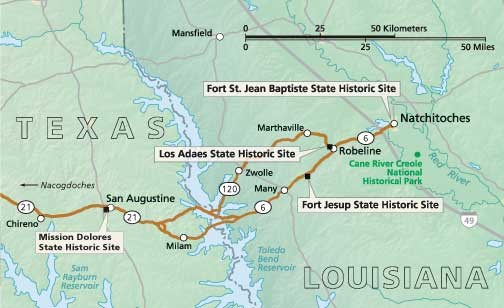 Map Of Texas And Louisiana Border.Itinerary For Texas Louisiana Border El Camino Real De Los Tejas