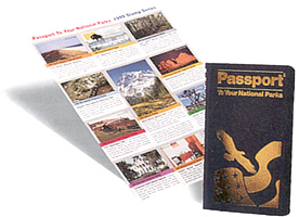 Passport program book and stamps on white background