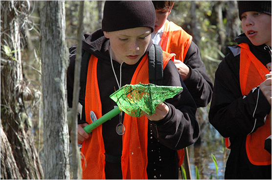 A student investigates a dip net for fish, bugs, and plants on a hike in the cypress slough near the Loop Road Environmental Education Center.