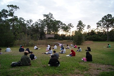 students sitting on the grass facing pine trees at sunrise
