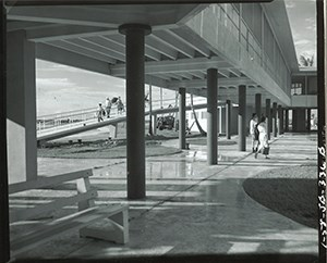 Close up view of columns and under structure of the Flamingo Visitor Center in 1958