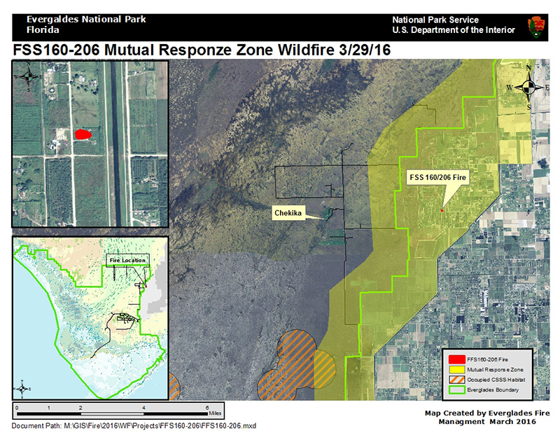 Map of Mutual Response Zone Wildfire on March 29, 2016