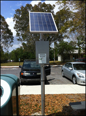 photo of a solar powered light at the ernest coe visitors center