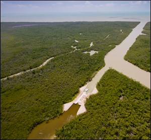 An aerial photo of the east cape canal plug.