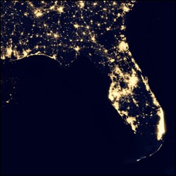 Satellite image of Florida and the southeastern United States at night