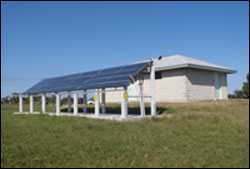 photo of solar powered water heaters at the flamingo campgrounds