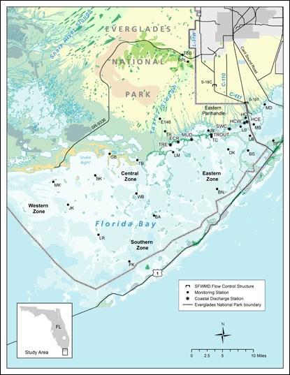 Map Western Florida.Florida Bay Monitoring Program Everglades National Park U S