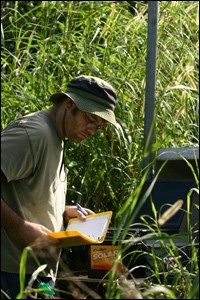 Hydrologist working in the field