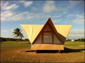 photo of the semi permanent eco tent at the flamingo campgrounds
