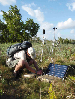 Acoustic monitoring technician at Eco Pond site