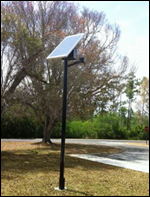 Solar-powered light fixture at Coe Visitor Center