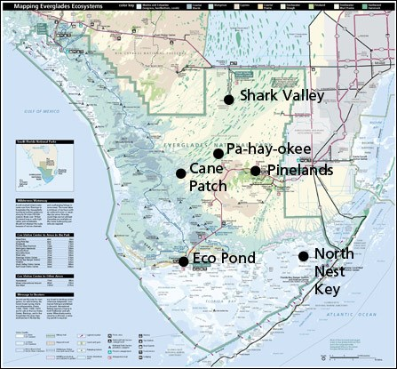 Acoustic recording sites in Everglades National Park