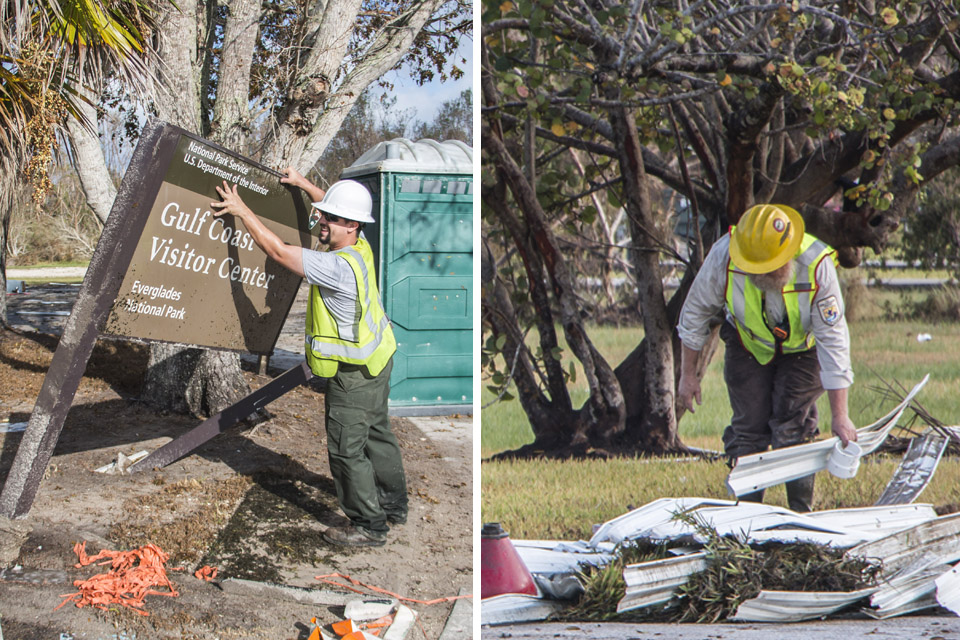 Two images show a National Park Service and Fish and Wildlife Service Employees cleaning up building debris.