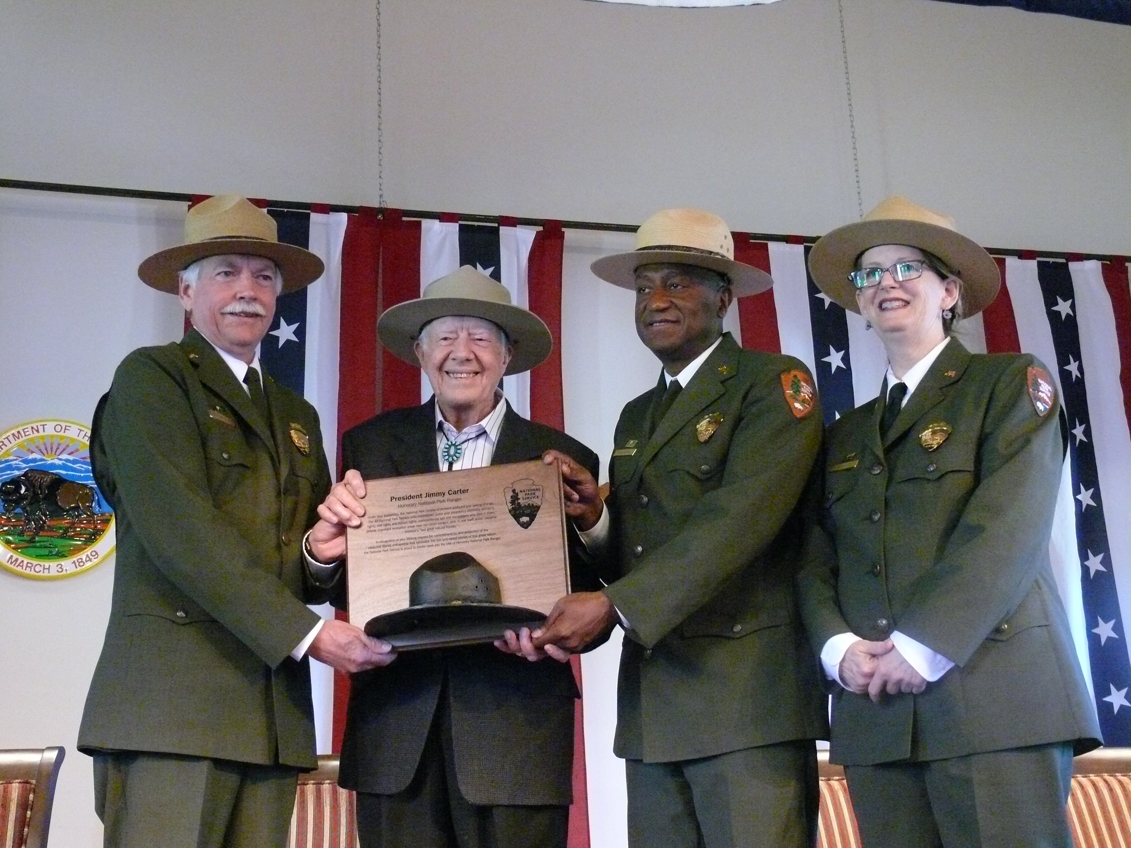 National Park Service Director Jonathan B. Jarvis, Former President Jimmy Carter, NPS Southeast Region Director Stan Austin and Jimmy Carter National Historic Site Superintendent Barbara Judy