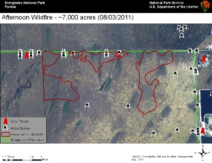 Map of Fire in East Everglades as of noon  08032011