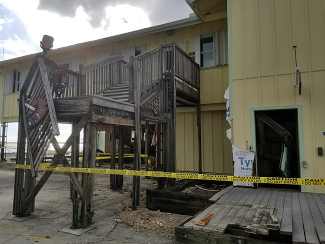 Severe damage to the lower level of the Gulf Coast Visitor Center