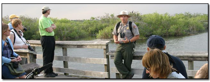 Ranger Leads a Group on the Anhinga Trail