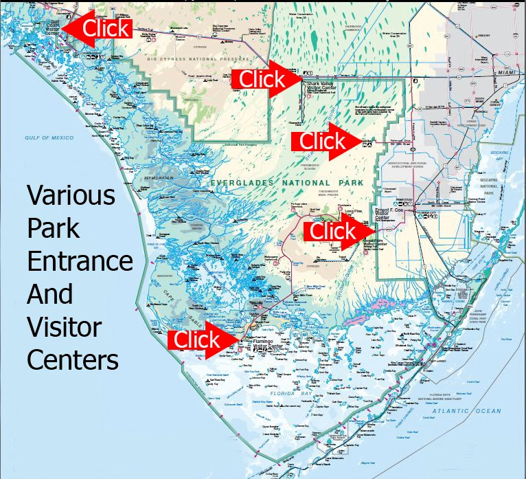 Florida Map Gulf.Park Entrances Visitor Centers Everglades National Park U S