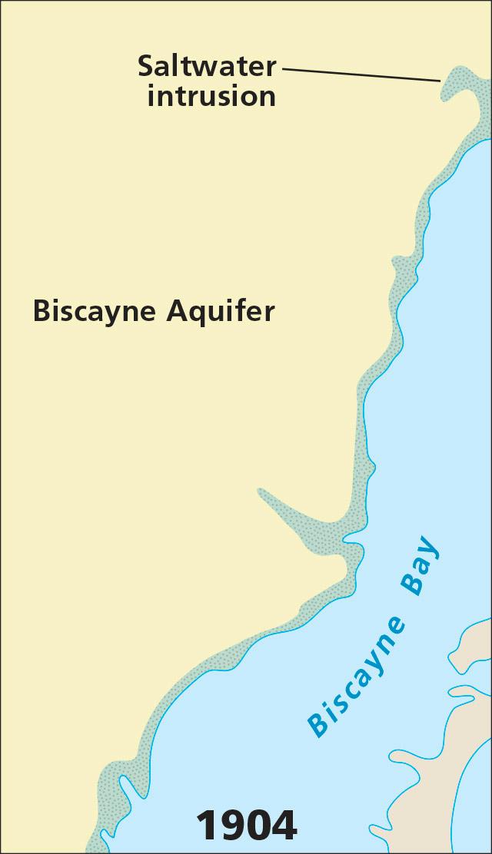 Restoring The Everglades - Saltwater intrusion map us